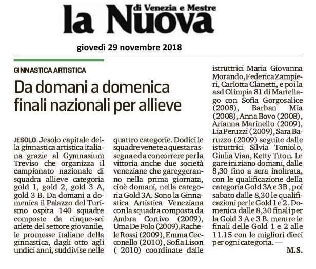 Articolo Nuova venezia ginnastica Artistica Veneziana