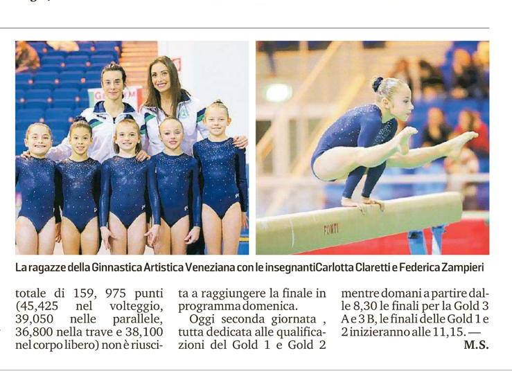 Articolo giornala ginnastica Artistica Veneziana